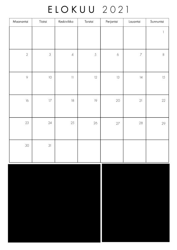 Kalenteri Elokuu 2021